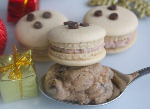 Vegan pecan chocolate-chip cookie dough macarons